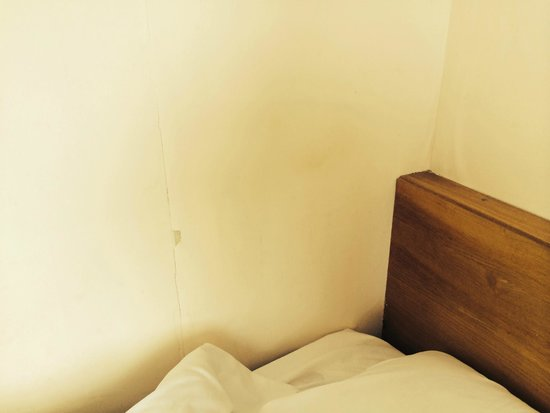 Roundhouse Hotel Bournemouth: head grease on peeling wallpaper next to bed