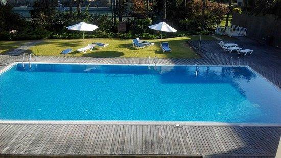 Aparthotel Mira Villas : Vista de la piscina desde la primera planta