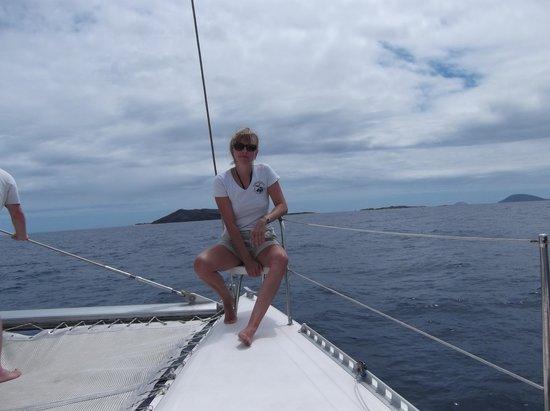 Ilot Gabriel Beach : sur le catamaran