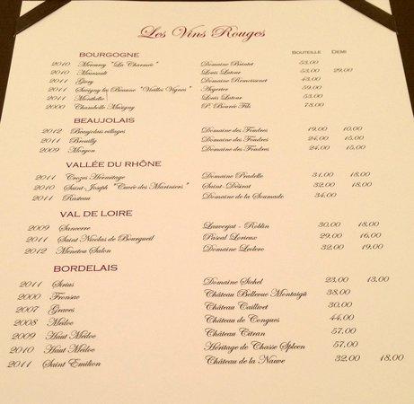Restaurant Le Chalut : carte des vins