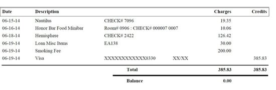 Loews Miami Beach Hotel: Bill for your reference