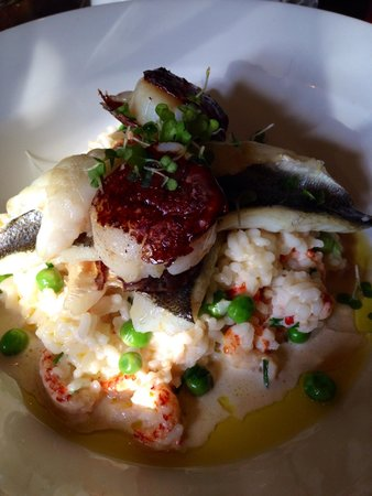 Bear Inn: The pan fried sea bass with scallops on a bed of crayfish risotto