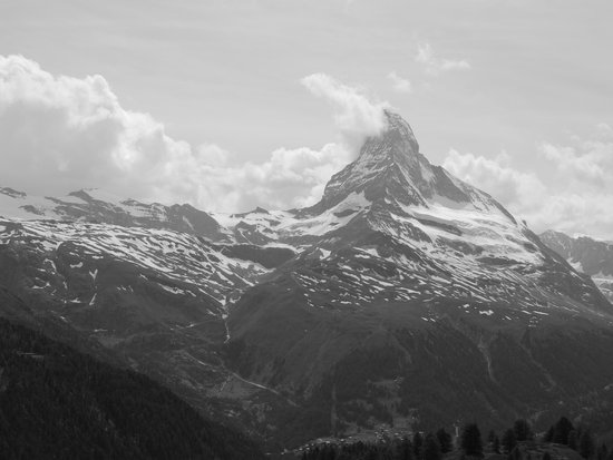 Black and white photo of the Matterhorn from Sunneggra