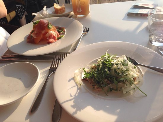 Jamie Oliver's Fifteen Cornwall: Spider Crab salad and Prosciutto and Melon salad.