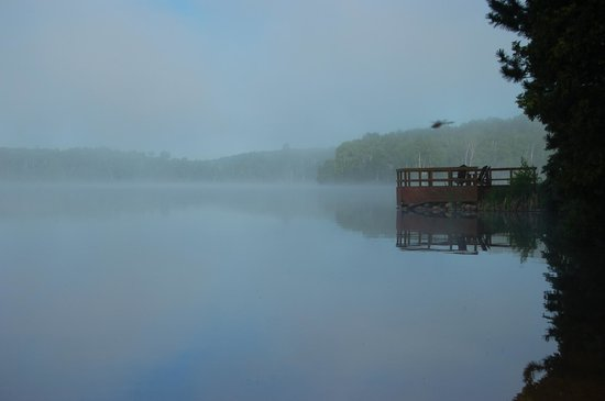 Hay Lake Lodge and Cottages : Main deck overlooking the lake in the morning