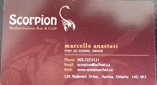 Scorpion Mediterranean Bar and Grill: Chef's Card
