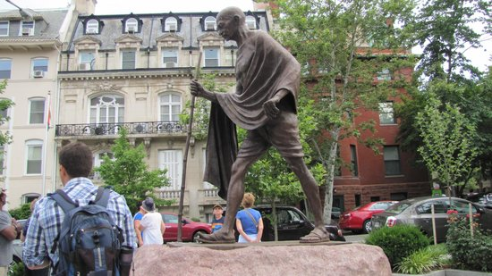 DC by Foot: Ghandi in front of the Indian Embassy