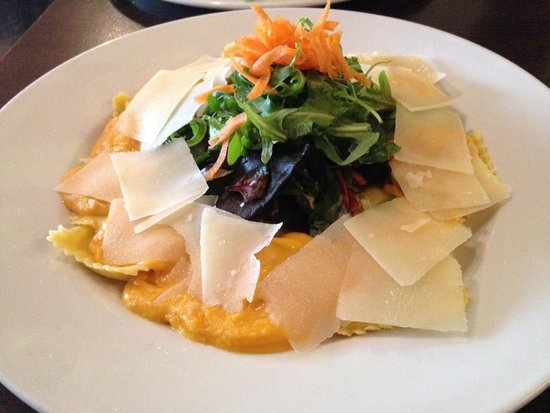 Bar One: Spinach Ravioli in butternut squash sauce with shaved parmesan slices
