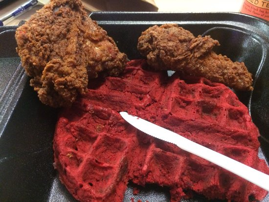 Bay Bay's Chicken & Waffles: Spiced dark meat with a Red Velvet waffle to go. Aka Heaven in a box.