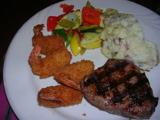 The Black Pearl Surf & Turf Grill: Steak & Fried Shrimp special on Tuesdays