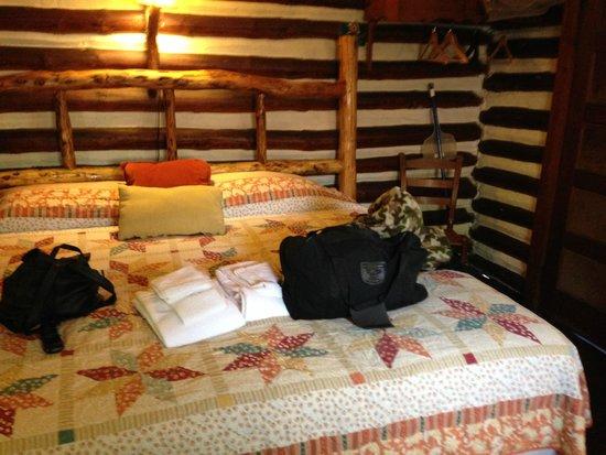 Log Cabin Motor Court: King bed