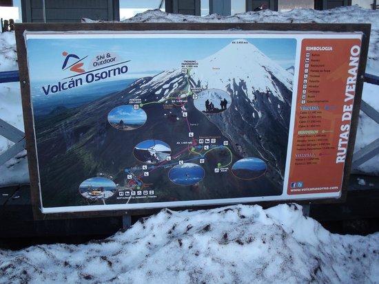 Volcan Osorno: placa com informações