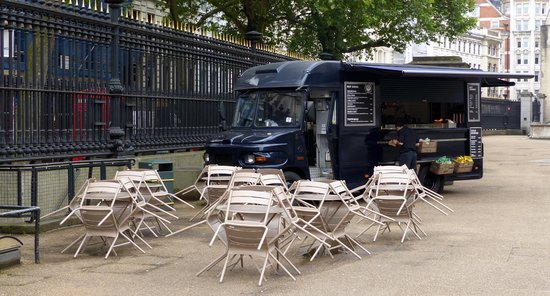 Cafe van outside the British Museum in Bloomsbury