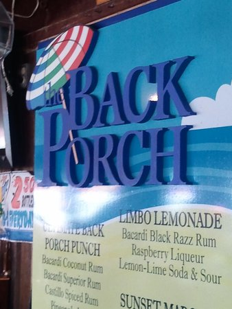 The Back Porch: drink sign