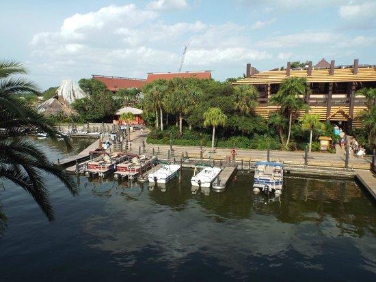Disney's Polynesian Village Resort: view of marina and volcano pool from balcony
