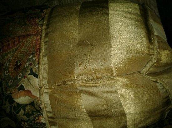 Fulton Steamboat Inn: Ripped decorative pillow