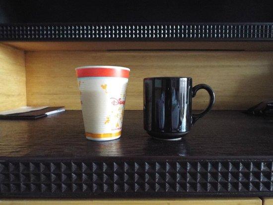 Disney's Polynesian Village Resort: ceramic coffee cup compared to Riverside styrofoam cup