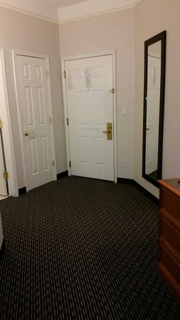 La Quinta Inn & Suites Birmingham Hoover : That is from the TV to the door it's a large open space the closet is on the left beside the res