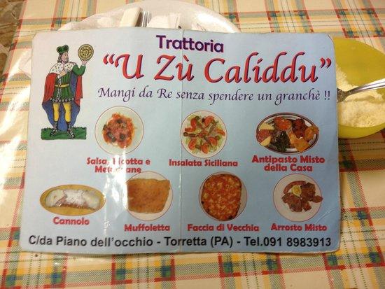 Torretta, Italy: il menù