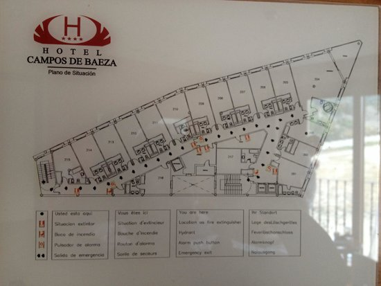 Hotel Campos de Baeza: Room plan. Avoid 215. Bathroom w single basin and loo squashed near bath. No wifi.