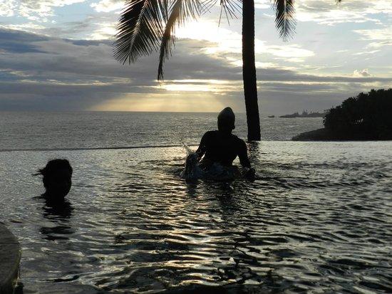 Niraamaya Retreats: Infinity pool at dusk...