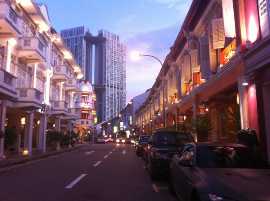 Naumi Liora: the Keong Saik Road. the orange painted building on the right is the hotel.