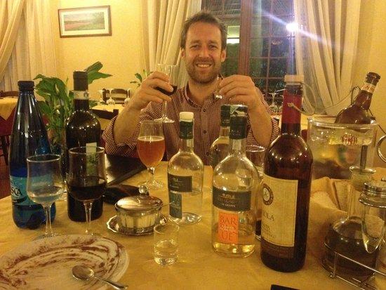 Il Frantoio: Enjoying the Grappa selection...