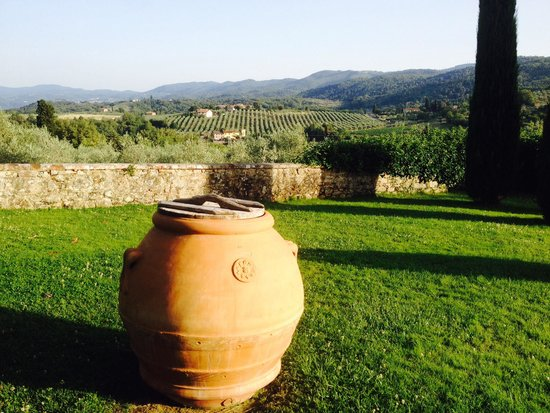 Hotel Villa La Palagina: The view with an authentic terra cotta container