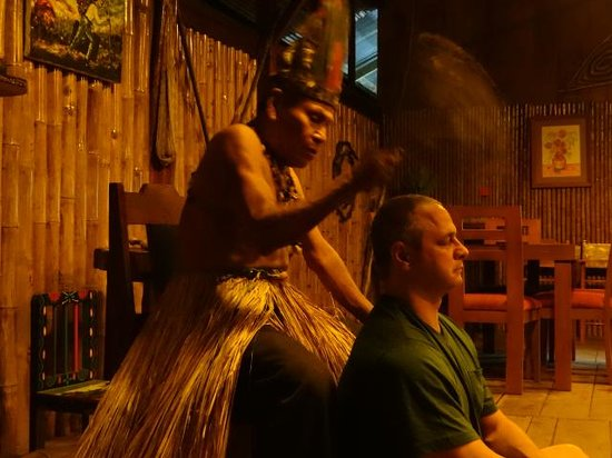 """Anaconda Lodge Ecuador: Our Guest from Texas receiving a """"Limpia"""" with the Shaman"""