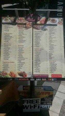 Gusta Bar&Grill : Gusta menu