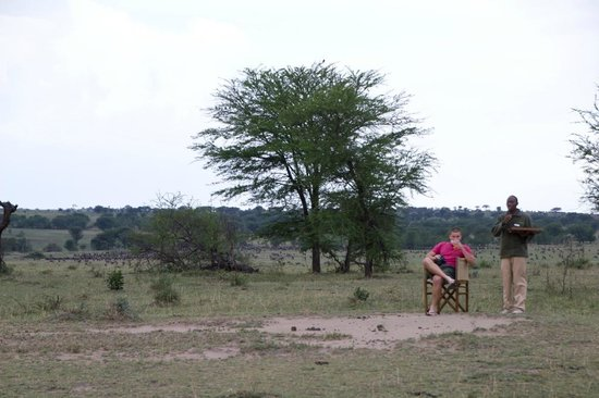 Olakira Camp, Asilia Africa: Sundowners on the 'front porch'