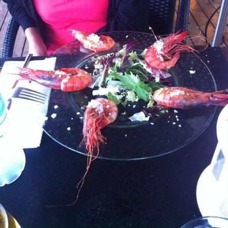 Tapas del Mar : voila le plat de 5 crevettes grillées pour 20€