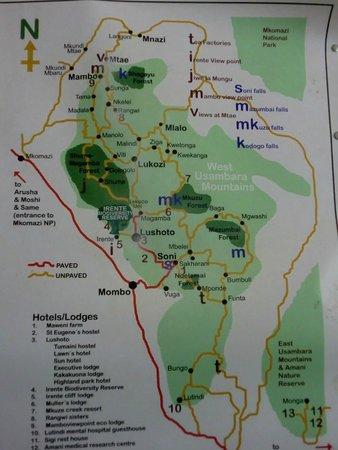 Usambara Mountains: map of trekking arae from 1-7 days