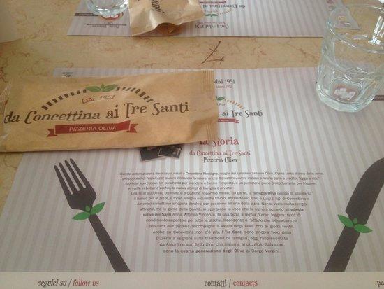 Pizzeria da Concettina ai Tre Santi: Tavolo