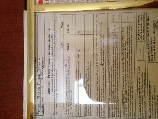 Hotel Capannelle : Prezziario del 2012 con tariffe ingiustificate