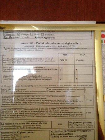 Hotel Capannelle: Prezziario del 2012 con tariffe ingiustificate