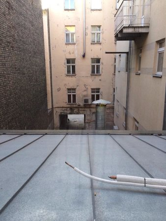 """A1 Hotel: The """"courtyard"""". This is the view you get from most rooms. Awful."""
