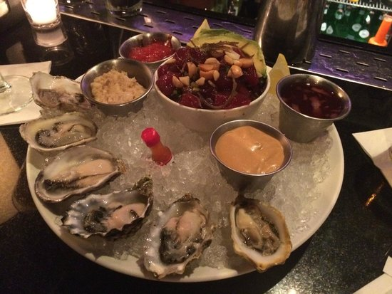 Prime 112: raw oysters and Ahai Tuna