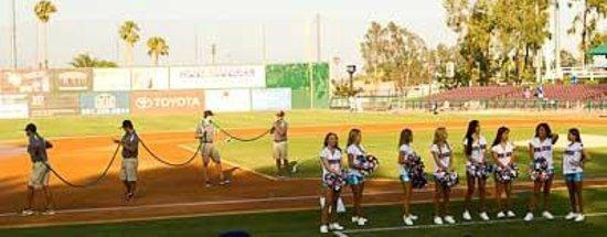 San Manuel Stadium: field crew and dancers