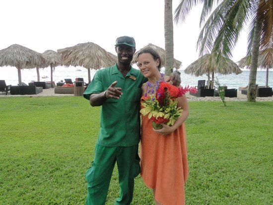 Secrets St. James Montego Bay: Errol made my wife a beautiful bouquet in honor of our honeymoon.