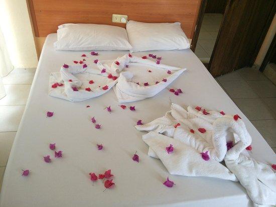 Kleopatra Alis Hotel: Łóżka w pokojach