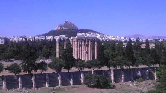 Temple of Olympian Zeus : Zeus' Temple from Royal Olympic Hotel Balcony
