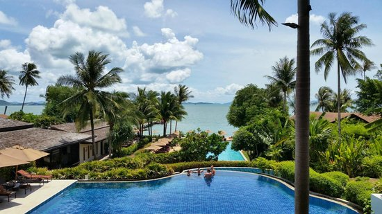 The Village Coconut Island Beach Resort: View from hotel lobby overlooking the main pools