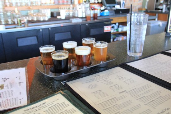 Lumberyard Brewing Company: Beer flight in a muffin pan
