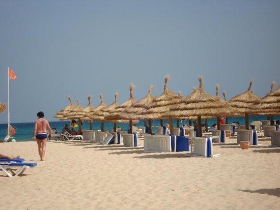 Eden Village Yadis Hammamet : fila di ombrelloni in spiaggia