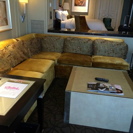 The Palazzo Resort Hotel Casino: step down living room with desk and dinette