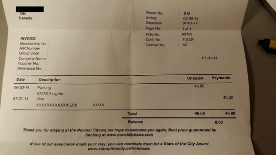Novotel Ottawa: stay 1 night but parking was charged 2 nights