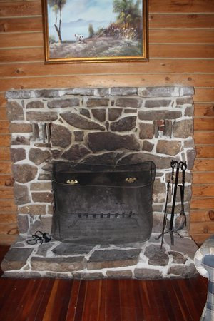 Yokum's Vacationland: The fireplace.