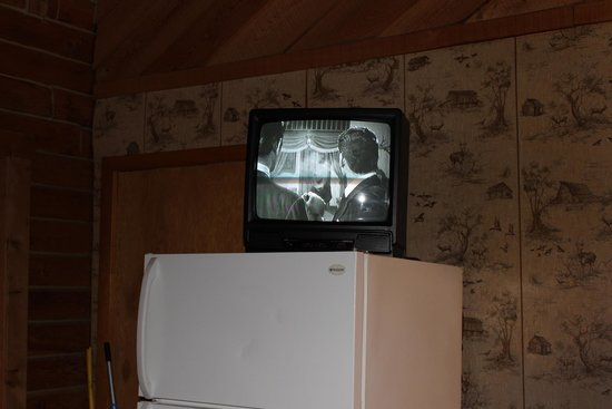 Yokum's Vacationland: Television on top of the refrigerator.