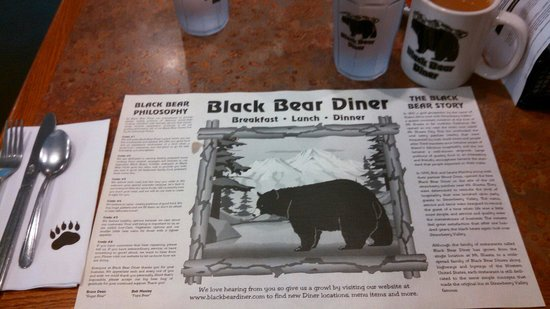 Black Bear Diner: Bears on the cups, glass and even the napkin. How cute is that?